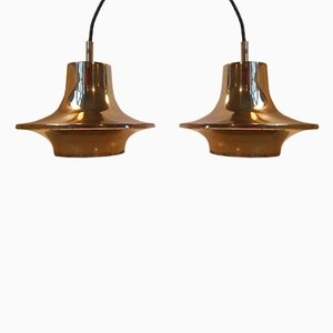 Mid-Century Brass Saucer Pendant Lamps by Hans-Agne Jakobsson for Markaryd, 1960s, Set of 2