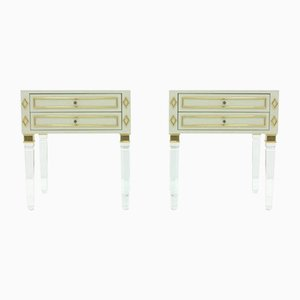 Lucite, Wood and Brass Nightstands, 1980s, Set of 2