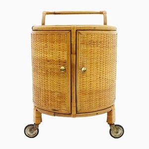 Chariot Bar en Bambou et Rotin, 1950s