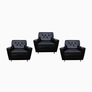 Vintage Black Leather Club Chairs by Profilia, Set of 3