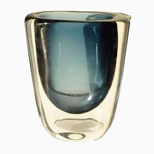 Mid-Century Blue Glass Vase by Nils Landberg for Orrefors, 1950s