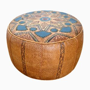 Moroccan Leather Stool, 1960s