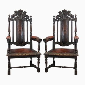 Antique Victorian Gothic Carved Oak Armchairs, Set of 2