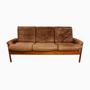 Vintage Teak and Leather 3-Seater Sofa, 1970s