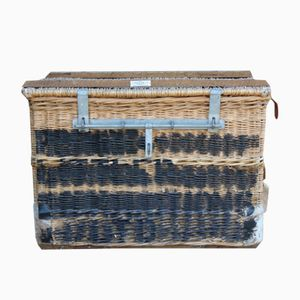 English Wicker Laundry Basket by C. Sage & Son, 1940s