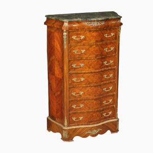 Vintage French Inlaid Rosewood and Marble Tallboy, 1970s