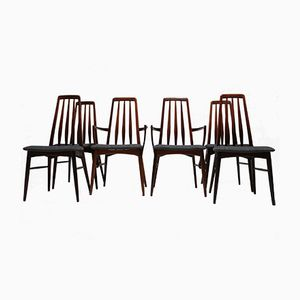 Mid-Century Eva Rosewwod Dining Chairs by Niels Koefoed, 1960s, Set of 6