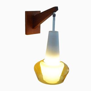 Vintage Glass & Wooden Wall Light from Philips, 1950s