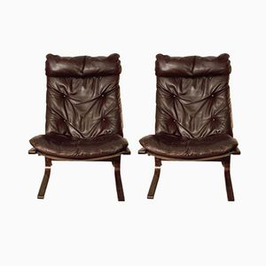 Chestnut Brown Siesta Chairs by Ingmar Relling for Westnofa, Set of 2