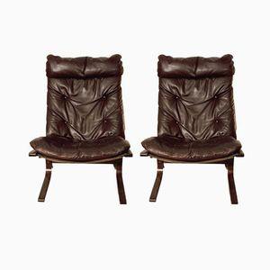 Kastanienbraune Siesta Sessel von Ingmar Relling für Westnofa, 2er Set