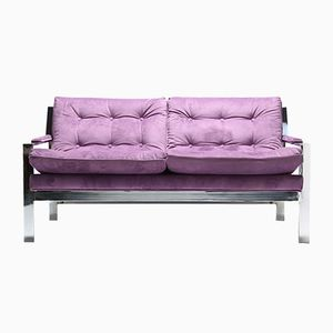Purple Loveseat Sofa with Chrome Frame by Cy Mann, 1970s