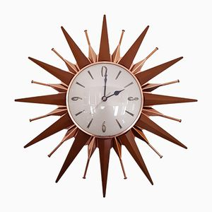vintage copper u0026 teak sunburst clock from metamec