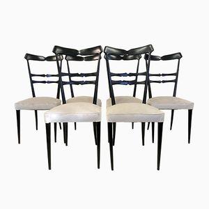 Italienische Ebonisierte Vintage Esszimmerstühle, 6er Set