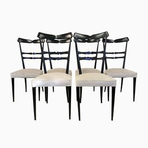 Vintage Italian Ebonised Dining Chairs, Set of 6