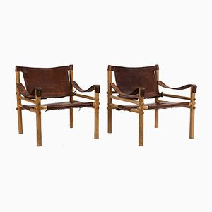 Pine & Brown Leather Safari Chairs from Arne Norell, 1960s, Set of 2