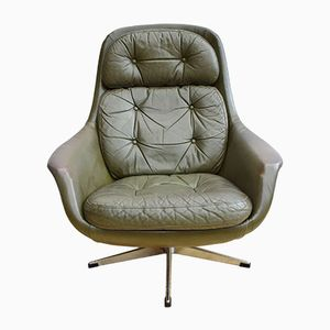 Mid-Century Danish Green Leather Swivel Lounge Armchair, 1960s