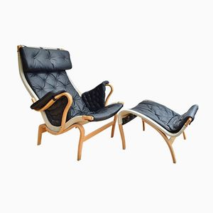 Mid-Century Swedish Pernilla Leather Lounge Chair & Matching Ottoman by Bruno Mathsson for Dux