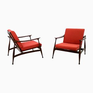 Italian Red Fabric and Solid Wood Armchairs, 1950s, Set of 2