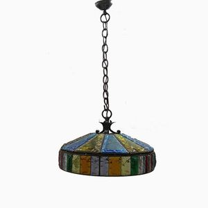Mid-Century Modern Wrought Iron Chandelier and Murano Glass, 1960s