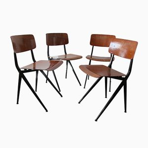 Mid-Century Industrial Steel and Wood Chairs from Marko, Set of 6