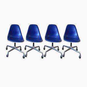 Chaises Vintage Shell en Vinyle Bleu par Charles & Ray Eames pour Herman Miller, Set de 4