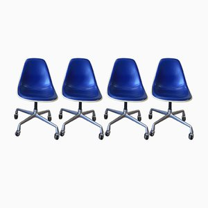 Vintage Blue Vinyl Shell Chairs by Charles & Ray Eames for Herman Miller, Set of 4