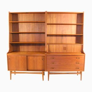 Vintage Danish Teak Book Shelves with Secretary by Johannes Sorth for Nexø Møbelfabrik, Set of 2