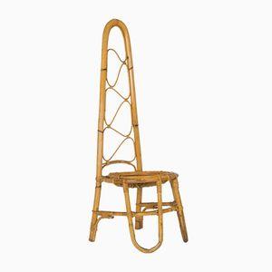 Italian Vintage High Back Rattan Chair, 1960s