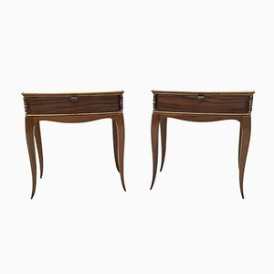 Italian Rosewood and Onyx Bedside Tables, 1950s, Set of 2