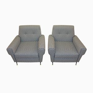 Italian Vintage Armchairs with Optical Fabric, 1950s, Set of 2