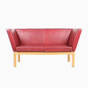Two-Seater Red Leather Sofa, 1980s
