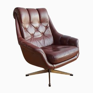 Mid-Century Danish Tan Brown Leather Swivel Lounge Armchair, 1970s