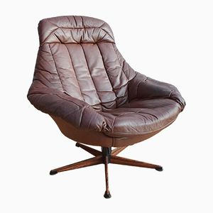 Mid-Century Danish Leather Swivel Lounge Armchair by H.W. Klein for Bramin, 1970s