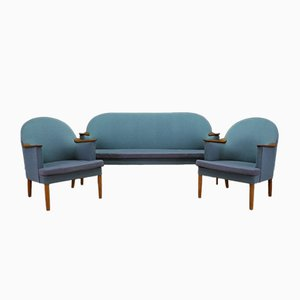 Danish Sofa and Armchairs with Wooden Armrests, 1970s