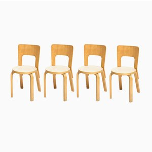 Vintage Model 66 Dining Chairs by Alvar Aalto for Artek, Set of 4