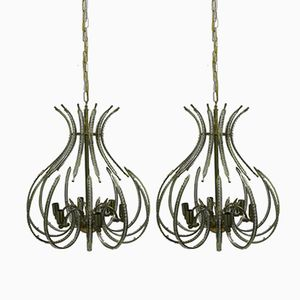 Brass and Crystal Chandeliers from the Ceiling, 20th Century, Set of 2