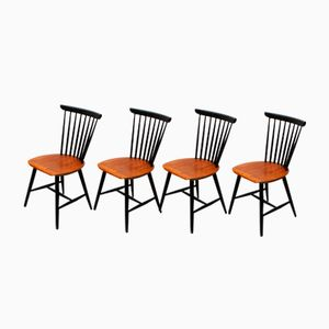 Mid-Century Danish Spindle Back Chairs, Set of 4