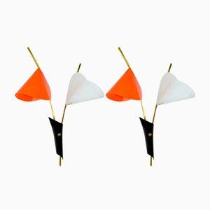 Vintage Arum Orange and White Sconces, 1960s, Set of 2