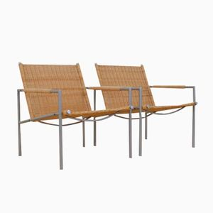 Niederländische Mid-Century Rattan Sessel von Martin Visser für 't Spectrum, 2er Set