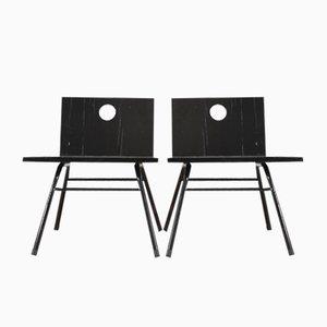 Schwarze Vintage Beistellstühle aus Holz, 1950er, 2er Set