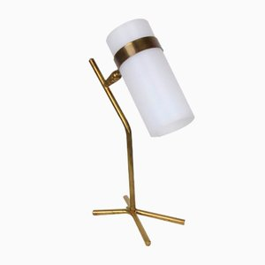 White Perspex & Brass Table Lamp, 1950s