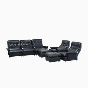 Living Room Suite Leather Sofa, 2 Lounge Chairs, and 2 Ottomans from Profila, 1970s, Set of 5
