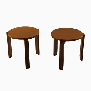Teak & Afrormosia Stacking Tables, 1960s, Set of 2