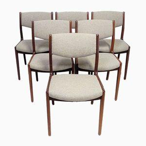 Vintage Scandinavian Teak & Woolen Fabric Chairs, Set of 6