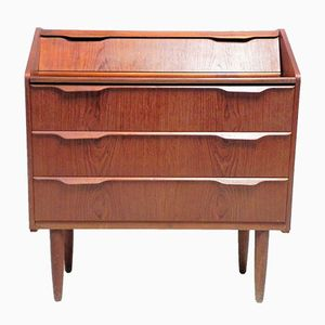 Mid-Century Chest of Drawers with Fold-Out Desk & Mirror