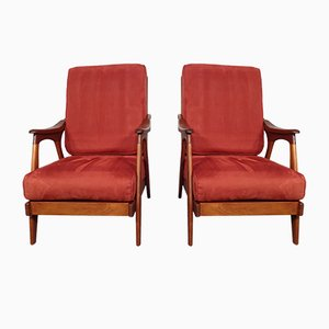Teak Lounge Chairs, 1950s, Set of 2
