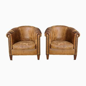 Vintage Cognac Leather Club Chairs, Set of 2