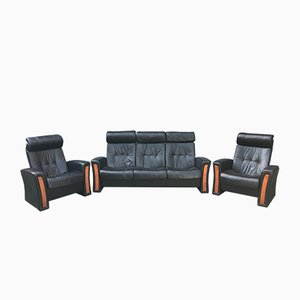 Vintage Reclining Leather Living Room Set