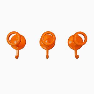 Orangefarbene Vintage Space Age Metall Wandhaken, 3er Set