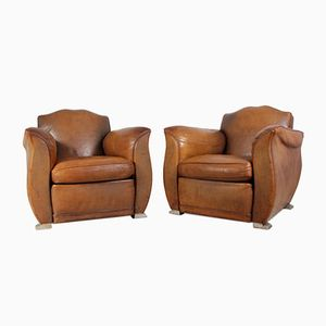 Fauteuils Club en Cuir, France, 1960s, Set of 2